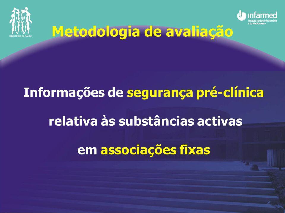 Informações de segurança pré-clínica relativa às substâncias activas em associações fixas Metodologia de avaliação