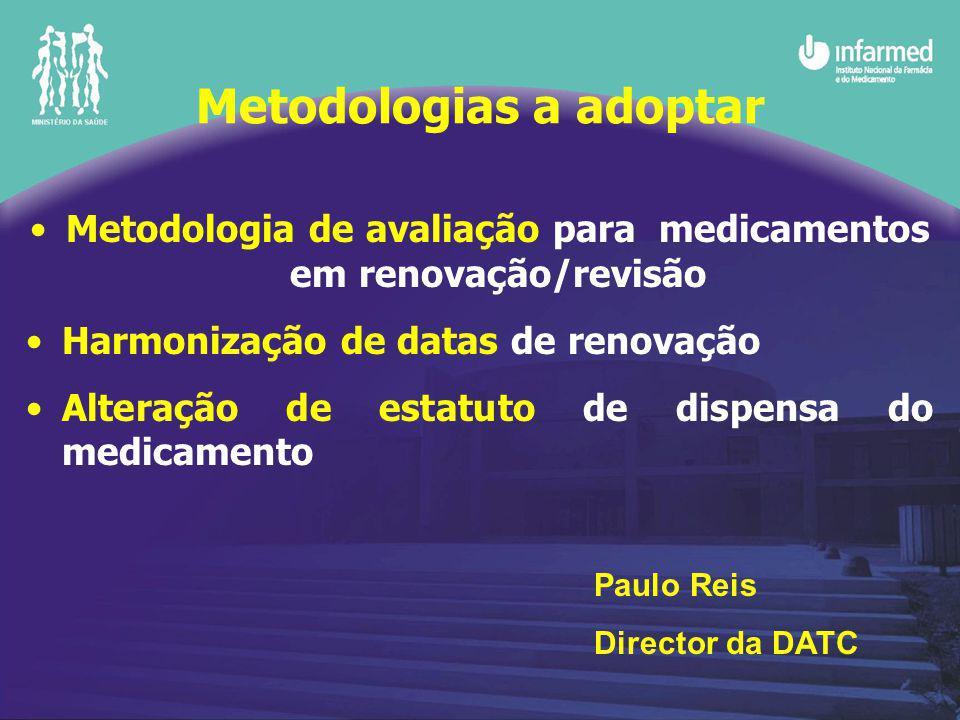 Metodologias a adoptar Metodologia de avaliação para medicamentos em renovação/revisão Harmonização de datas de renovação Alteração de estatuto de dispensa do medicamento Paulo Reis Director da DATC