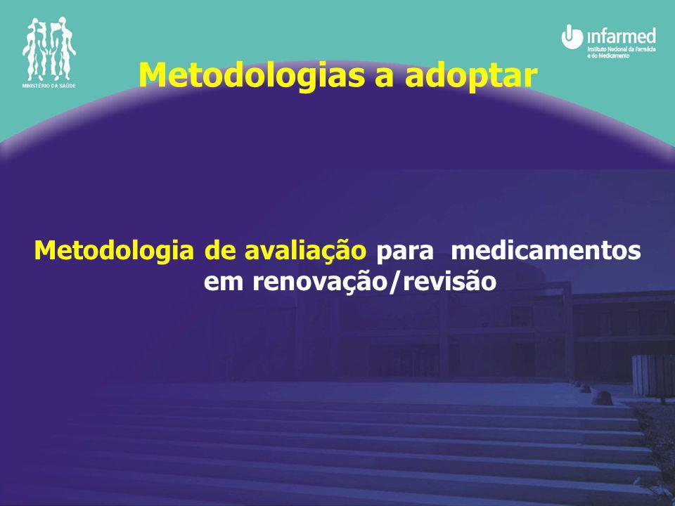 Metodologias a adoptar Metodologia de avaliação para medicamentos em renovação/revisão