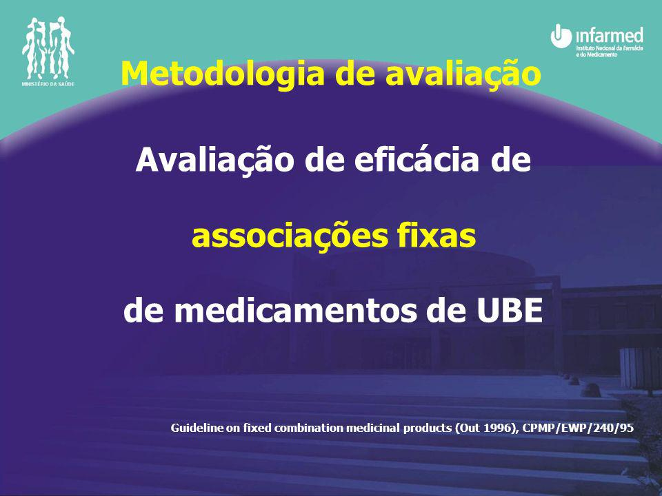 Avaliação de eficácia de associações fixas de medicamentos de UBE Guideline on fixed combination medicinal products (Out 1996), CPMP/EWP/240/95 Metodologia de avaliação