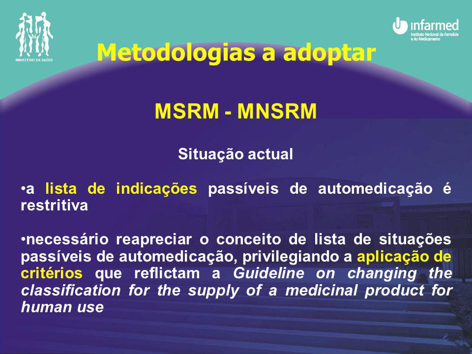 MSRM - MNSRM Situação actual a lista de indicações passíveis de automedicação é restritiva necessário reapreciar o conceito de lista de situações passíveis de automedicação, privilegiando a aplicação de critérios que reflictam a Guideline on changing the classification for the supply of a medicinal product for human use Metodologias a adoptar