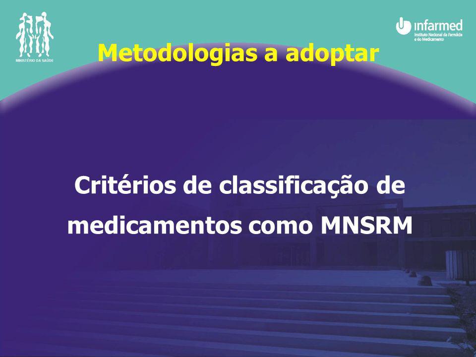 Critérios de classificação de medicamentos como MNSRM Metodologias a adoptar