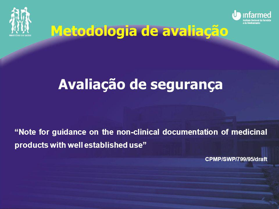 Avaliação de segurança Note for guidance on the non-clinical documentation of medicinal products with well established use CPMP/SWP/799/95/draft Metodologia de avaliação