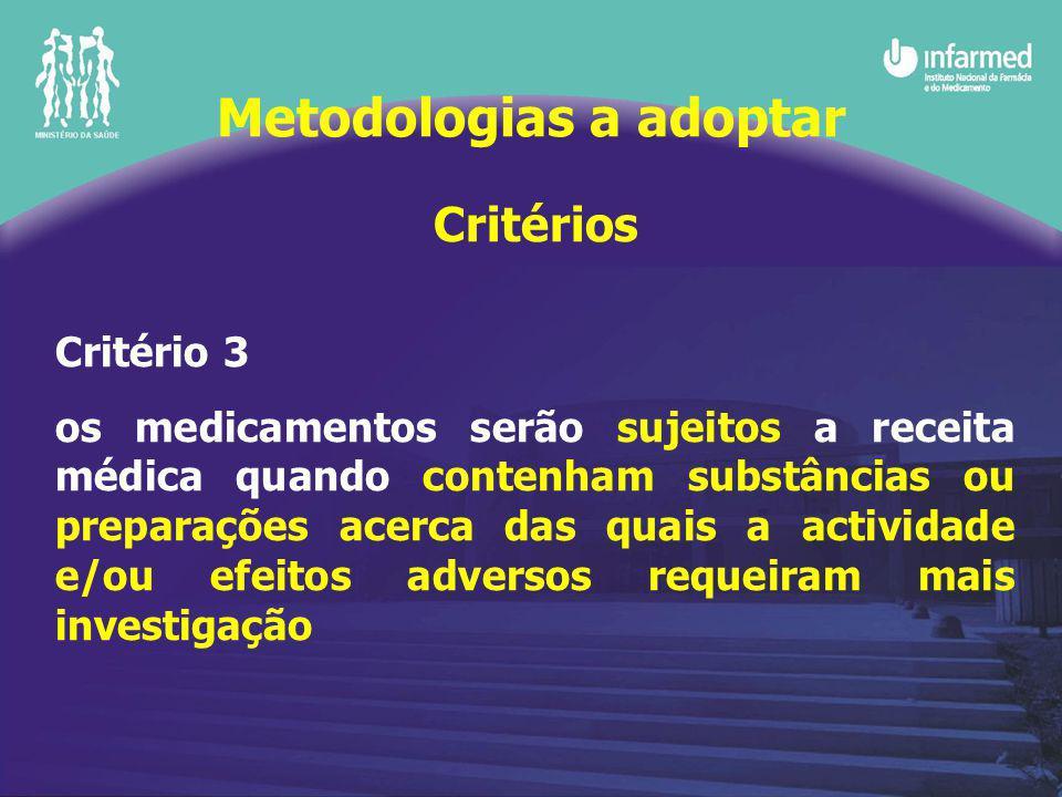 Critérios Critério 3 os medicamentos serão sujeitos a receita médica quando contenham substâncias ou preparações acerca das quais a actividade e/ou efeitos adversos requeiram mais investigação Metodologias a adoptar