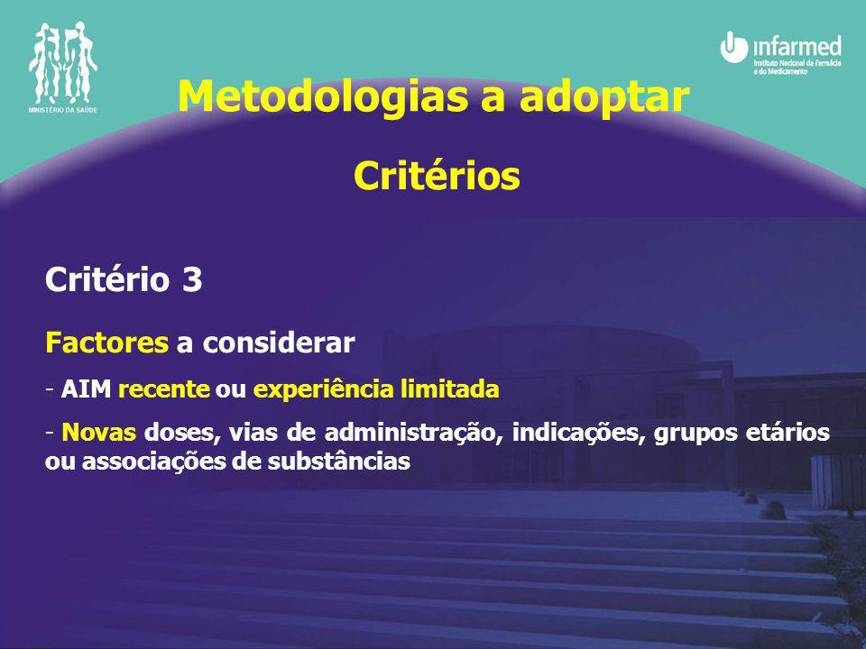 Critérios Critério 3 Factores a considerar - AIM recente ou experiência limitada - Novas doses, vias de administração, indicações, grupos etários ou associações de substâncias Metodologias a adoptar