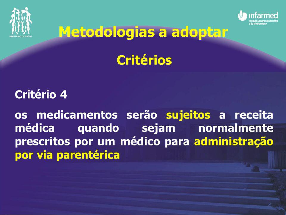 Critérios Critério 4 os medicamentos serão sujeitos a receita médica quando sejam normalmente prescritos por um médico para administração por via parentérica Metodologias a adoptar
