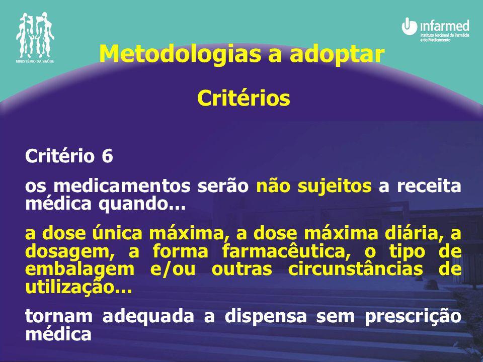 Critérios Critério 6 os medicamentos serão não sujeitos a receita médica quando...