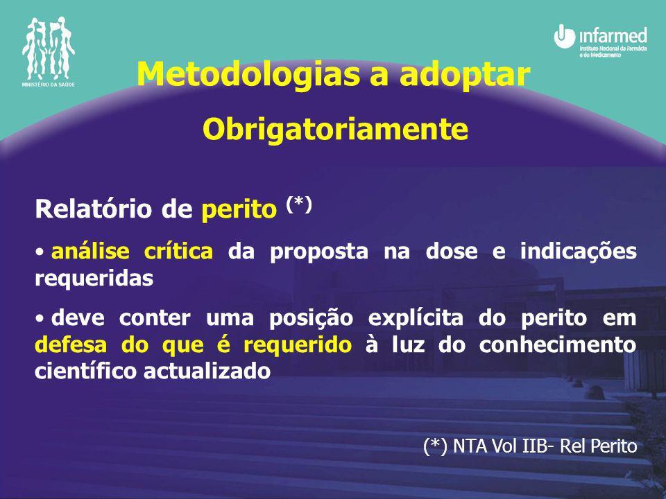 Obrigatoriamente Relatório de perito (*) análise crítica da proposta na dose e indicações requeridas deve conter uma posição explícita do perito em defesa do que é requerido à luz do conhecimento científico actualizado (*) NTA Vol IIB- Rel Perito Metodologias a adoptar