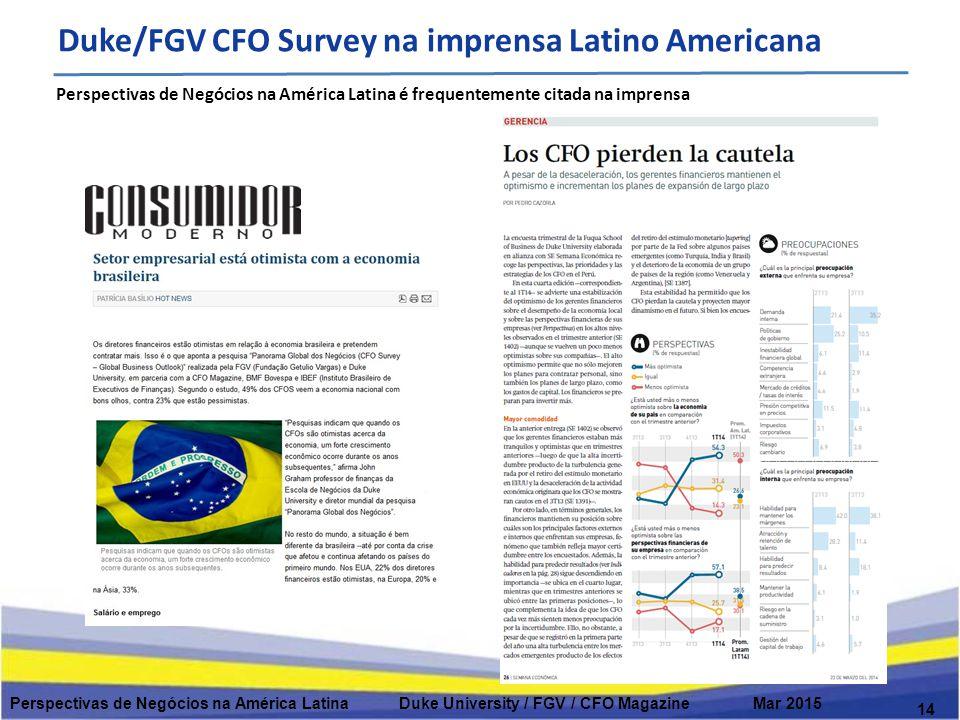 14 Perspectivas de Negócios na América Latina Duke University / FGV / CFO Magazine Mar 2015 Perspectivas de Negócios na América Latina é frequentemente citada na imprensa Duke/FGV CFO Survey na imprensa Latino Americana