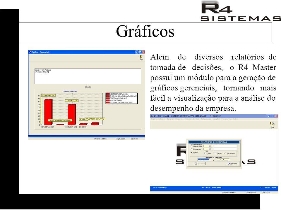 Alem de diversos relatórios de tomada de decisões, o R4 Master possui um módulo para a geração de gráficos gerenciais, tornando mais fácil a visualização para a análise do desempenho da empresa.