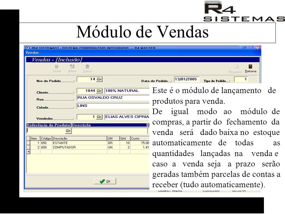 Este é o módulo de lançamento de produtos para venda.