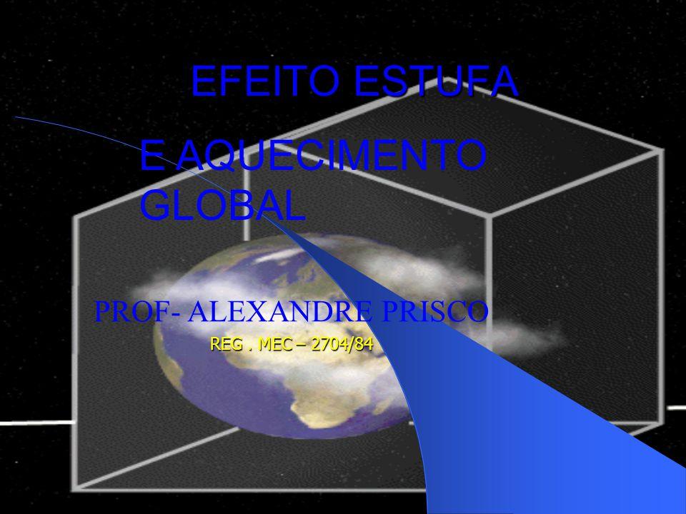 EFEITO ESTUFA PROF- ALEXANDRE PRISCO REG. MEC – 2704/84 E AQUECIMENTO GLOBAL