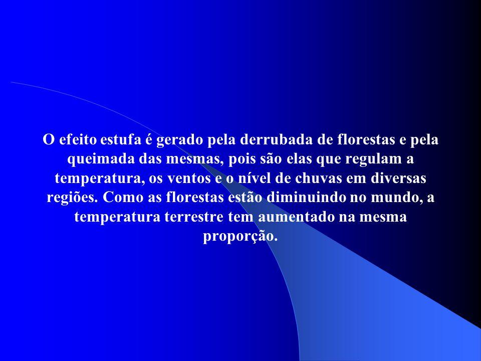 O efeito estufa é gerado pela derrubada de florestas e pela queimada das mesmas, pois são elas que regulam a temperatura, os ventos e o nível de chuva