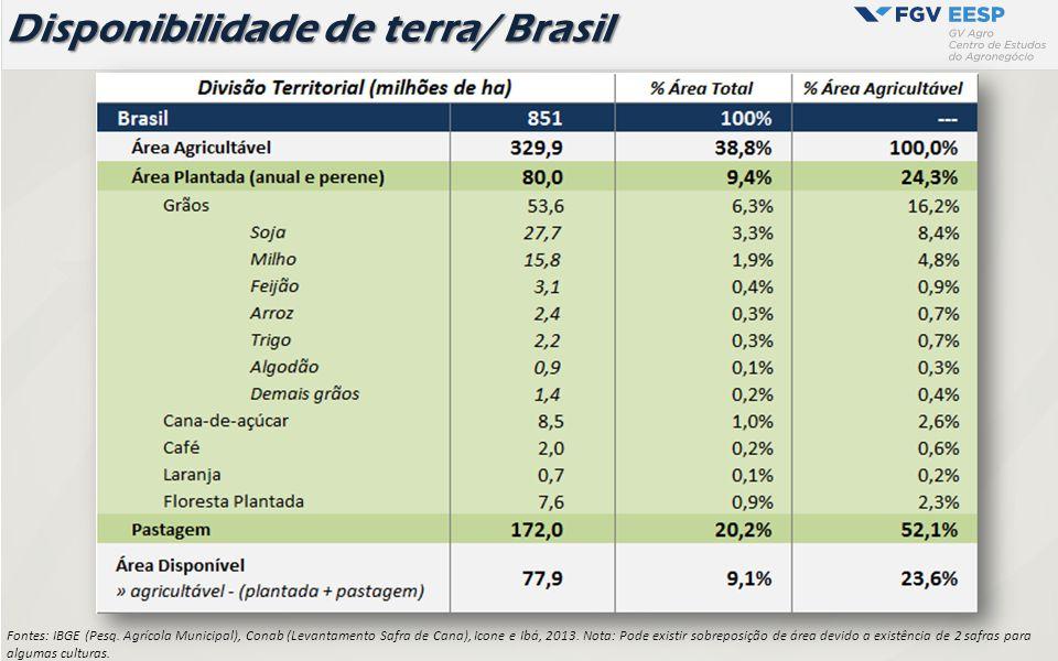 Disponibilidade de terra/ Brasil Fontes: IBGE (Pesq. Agrícola Municipal), Conab (Levantamento Safra de Cana), Icone e Ibá, 2013. Nota: Pode existir so