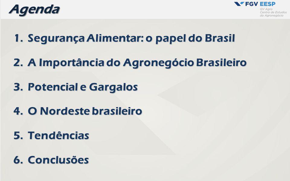 Agenda Agenda 1.Segurança Alimentar: o papel do Brasil 2.A Importância do Agronegócio Brasileiro 3.Potencial e Gargalos 4.O Nordeste brasileiro 5.Tend