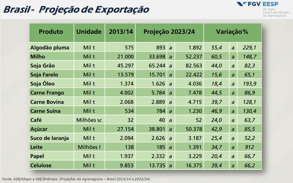 Fonte: AGE/Mapa e SGE/Embrapa (Projeções do Agronegócio – Brasil 2013/14 a 2023/24) Brasil - Projeção de Exportação