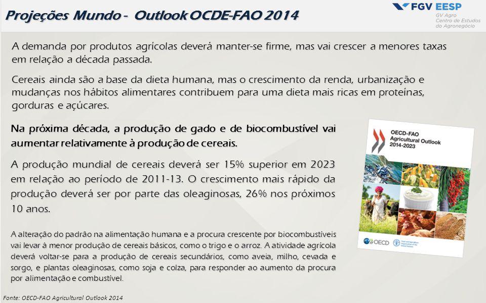 Fonte: OECD-FAO Agricultural Outlook 2014 Projeções Mundo - Outlook OCDE-FAO 2014 A demanda por produtos agrícolas deverá manter-se firme, mas vai cre