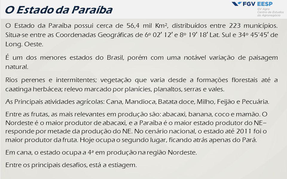O Estado da Paraíba O Estado da Paraíba possui cerca de 56,4 mil Km², distribuídos entre 223 municípios. Situa- se entre as Coordenadas Geográficas de
