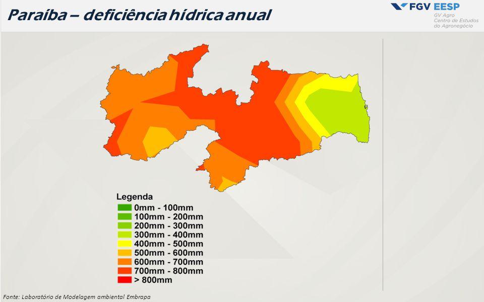 Paraíba – deficiência hídrica anual Fonte: Laboratório de Modelagem ambiental Embrapa