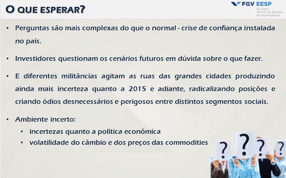 Perguntas são mais complexas do que o normal - crise de confiança instalada no país. Investidores questionam os cenários futuros em dúvida sobre o que