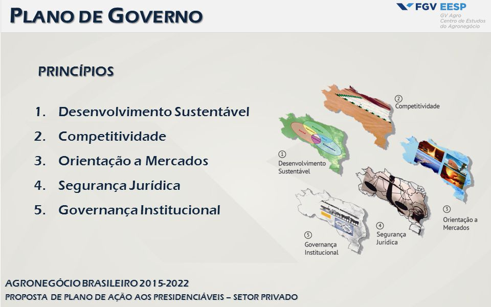 PRINCÍPIOS 1.Desenvolvimento Sustentável 2.Competitividade 3.Orientação a Mercados 4.Segurança Jurídica 5.Governança Institucional P LANO DE G OVERNO