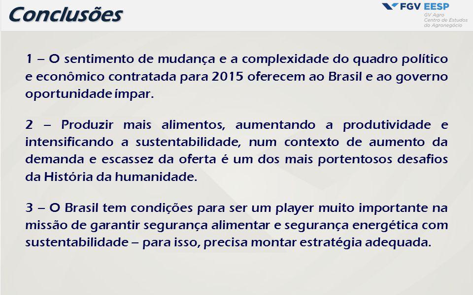 1 – O sentimento de mudança e a complexidade do quadro político e econômico contratada para 2015 oferecem ao Brasil e ao governo oportunidade ímpar. 2