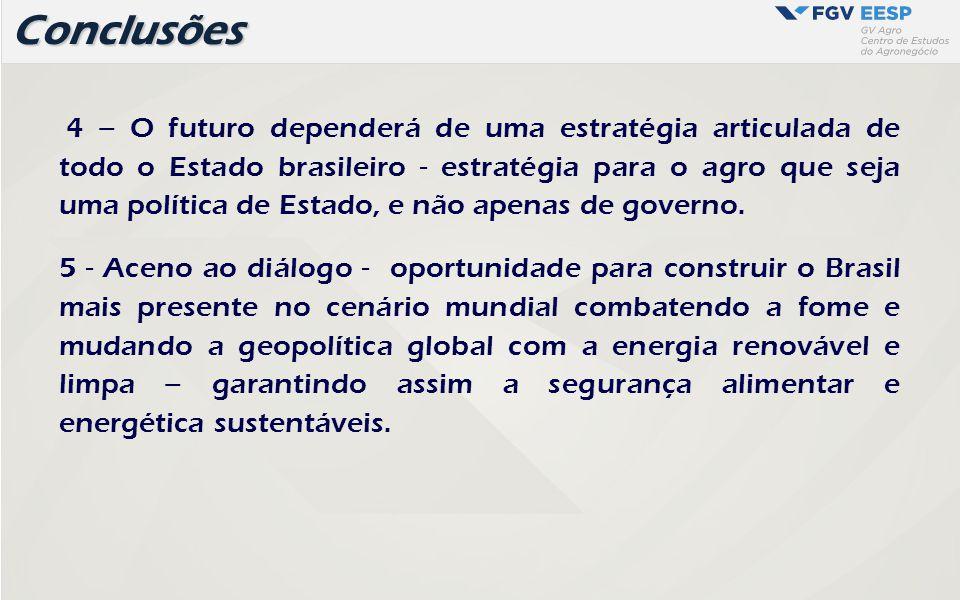 4 – O futuro dependerá de uma estratégia articulada de todo o Estado brasileiro - estratégia para o agro que seja uma política de Estado, e não apenas