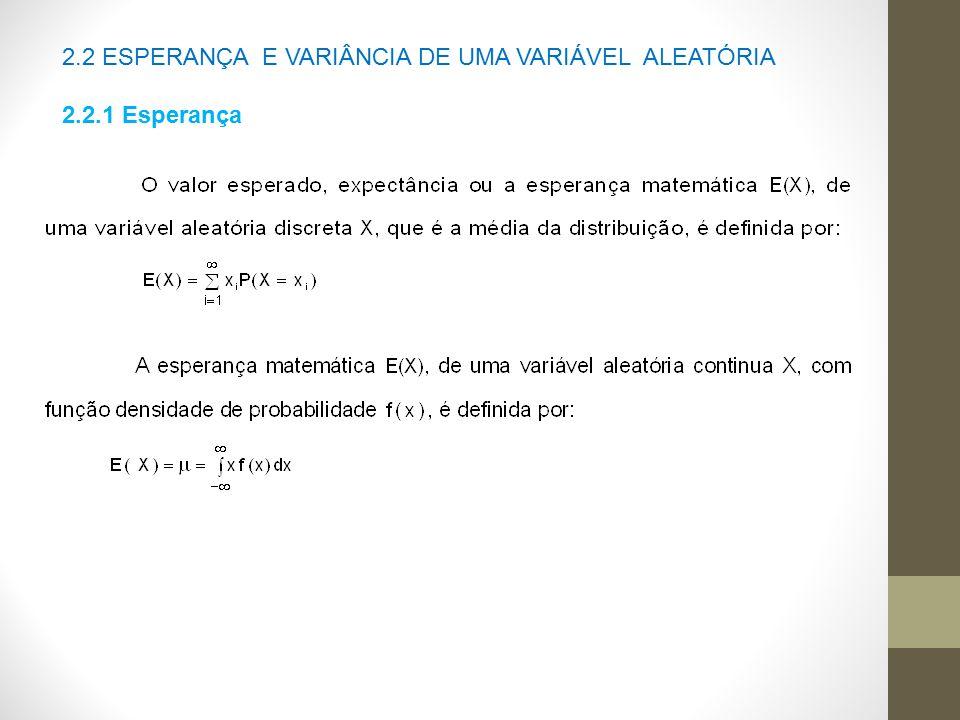 2.2 ESPERANÇA E VARIÂNCIA DE UMA VARIÁVEL ALEATÓRIA 2.2.1 Esperança