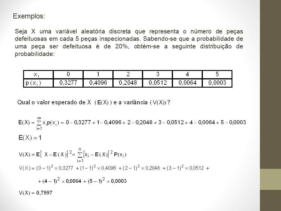 Exemplos: Seja X uma variável aleatória discreta que representa o número de peças defeituosas em cada 5 peças inspecionadas. Sabendo-se que a probabil