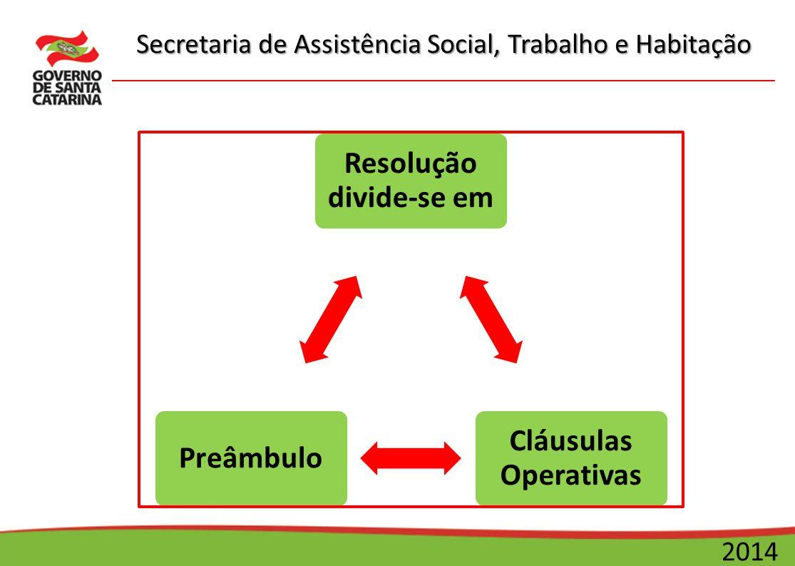 Secretaria de Assistência Social, Trabalho e Habitação 2014 Resolução divide-se em Cláusulas Operativas Preâmbulo