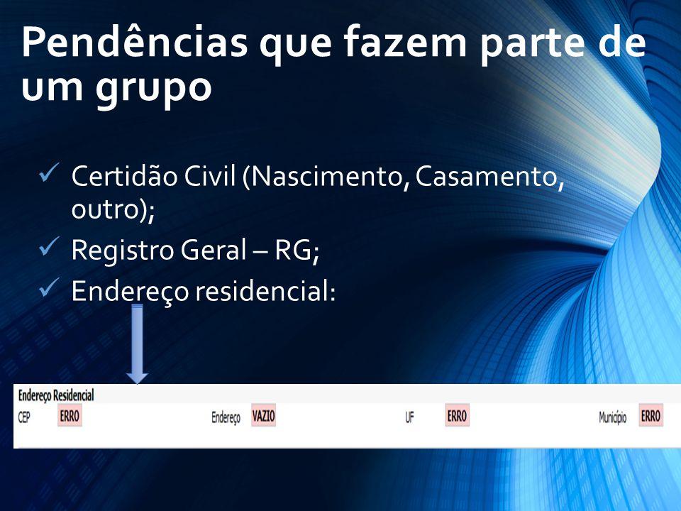 Certidão Civil (Nascimento, Casamento, outro); Registro Geral – RG; Endereço residencial: Pendências que fazem parte de um grupo