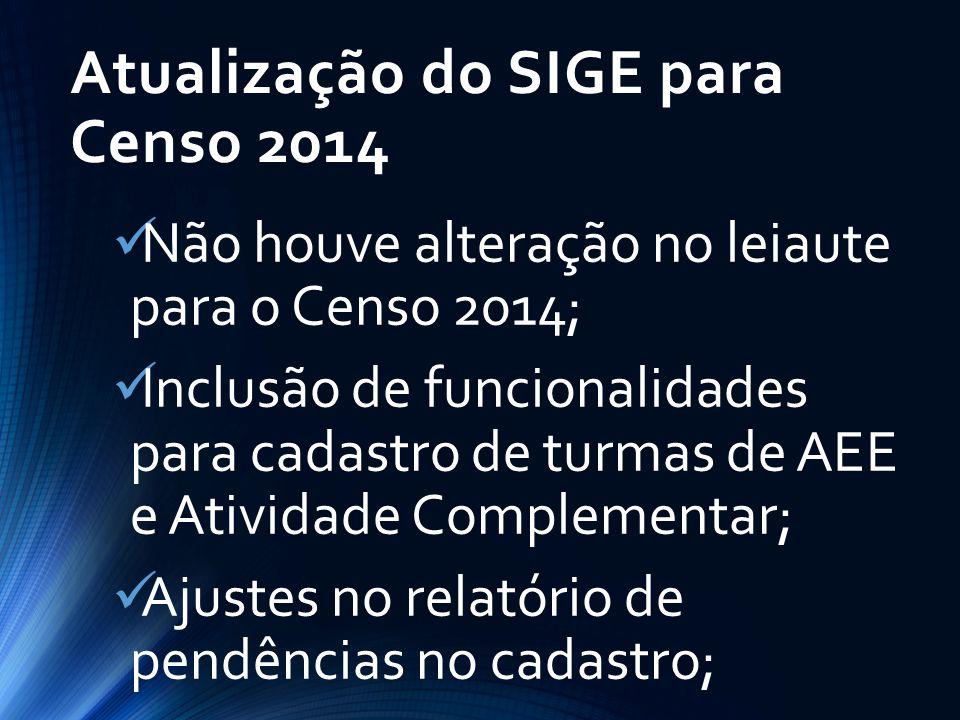 Atualização do SIGE para Censo 2014 Não houve alteração no leiaute para o Censo 2014; Inclusão de funcionalidades para cadastro de turmas de AEE e Ati