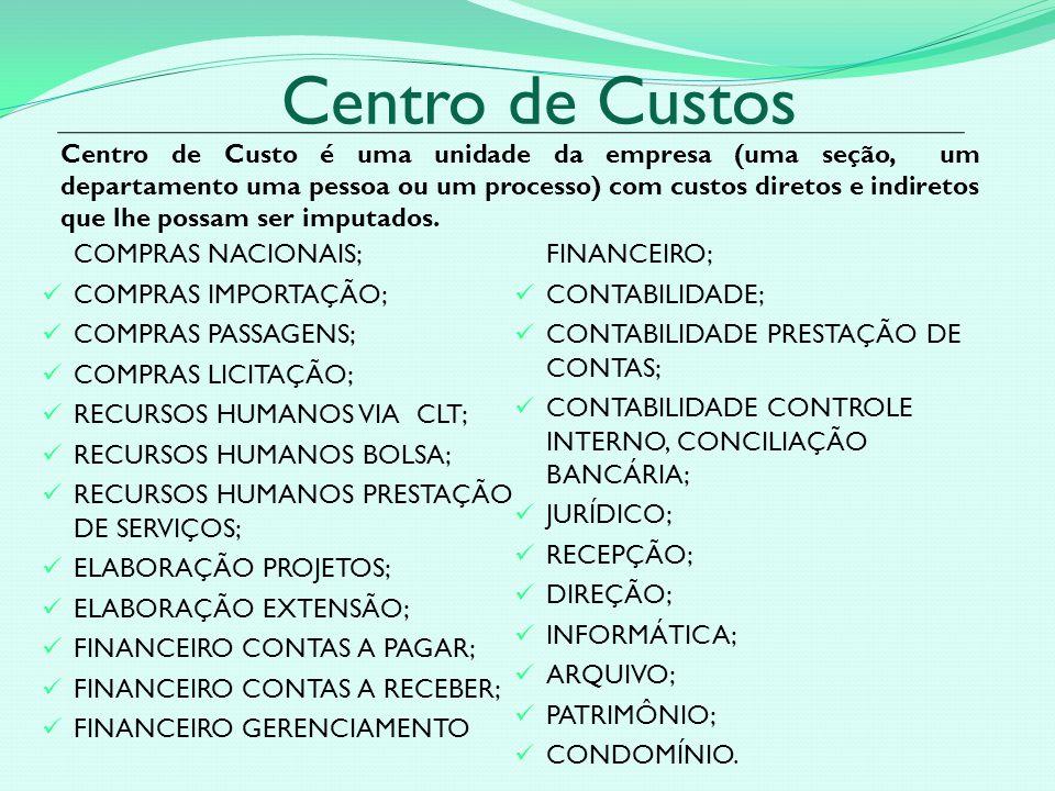 Centro de Custos COMPRAS NACIONAIS; COMPRAS IMPORTAÇÃO; COMPRAS PASSAGENS; COMPRAS LICITAÇÃO; RECURSOS HUMANOS VIA CLT; RECURSOS HUMANOS BOLSA; RECURSOS HUMANOS PRESTAÇÃO DE SERVIÇOS; ELABORAÇÃO PROJETOS; ELABORAÇÃO EXTENSÃO; FINANCEIRO CONTAS A PAGAR; FINANCEIRO CONTAS A RECEBER; FINANCEIRO GERENCIAMENTO FINANCEIRO; CONTABILIDADE; CONTABILIDADE PRESTAÇÃO DE CONTAS; CONTABILIDADE CONTROLE INTERNO, CONCILIAÇÃO BANCÁRIA; JURÍDICO; RECEPÇÃO; DIREÇÃO; INFORMÁTICA; ARQUIVO; PATRIMÔNIO; CONDOMÍNIO.