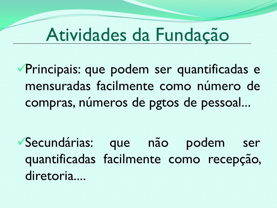 Atividades da Fundação Principais: que podem ser quantificadas e mensuradas facilmente como número de compras, números de pgtos de pessoal...