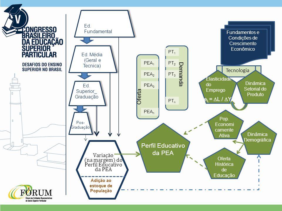 Fundamentos e Condições de Crescimento Econômico Tecnologia Elasticidade do Emprego e L =  L /  Y Dinâmica Setorial do Produto Dinâmica Demográfica Oferta Histórica de Educação Pop.