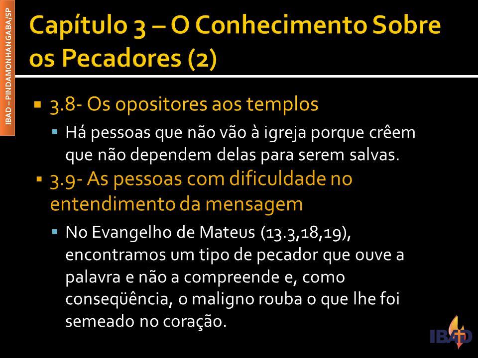 IBAD – PINDAMONHANGABA/SP  3.8- Os opositores aos templos  Há pessoas que não vão à igreja porque crêem que não dependem delas para serem salvas.