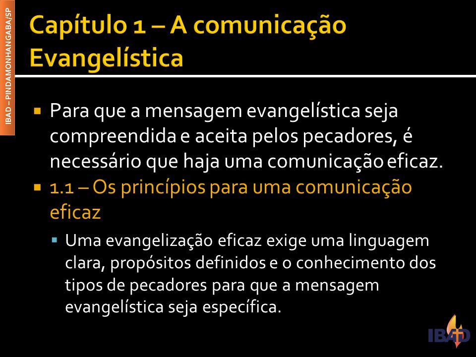 IBAD – PINDAMONHANGABA/SP  Para que a mensagem evangelística seja compreendida e aceita pelos pecadores, é necessário que haja uma comunicação eficaz.