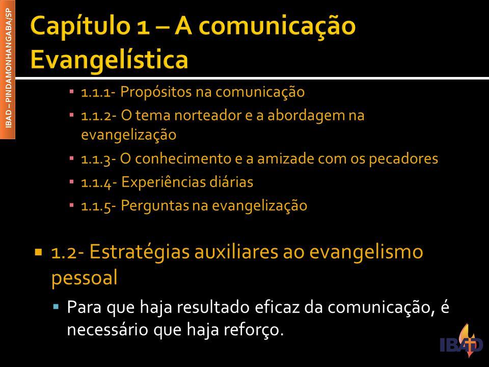 IBAD – PINDAMONHANGABA/SP ▪ 1.1.1- Propósitos na comunicação ▪ 1.1.2- O tema norteador e a abordagem na evangelização ▪ 1.1.3- O conhecimento e a amizade com os pecadores ▪ 1.1.4- Experiências diárias ▪ 1.1.5- Perguntas na evangelização  1.2- Estratégias auxiliares ao evangelismo pessoal  Para que haja resultado eficaz da comunicação, é necessário que haja reforço.