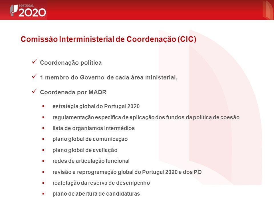 Coordenação política 1 membro do Governo de cada área ministerial, Coordenada por MADR  estratégia global do Portugal 2020  regulamentação específic