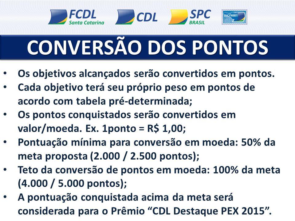CONVERSÃO DOS PONTOS CONVERSÃO DOS PONTOS Os objetivos alcançados serão convertidos em pontos.