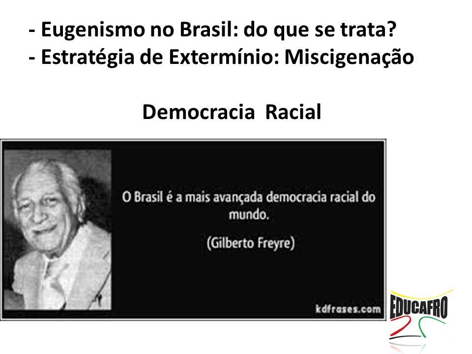 - Eugenismo no Brasil: do que se trata? - Estratégia de Extermínio: Miscigenação Democracia Racial