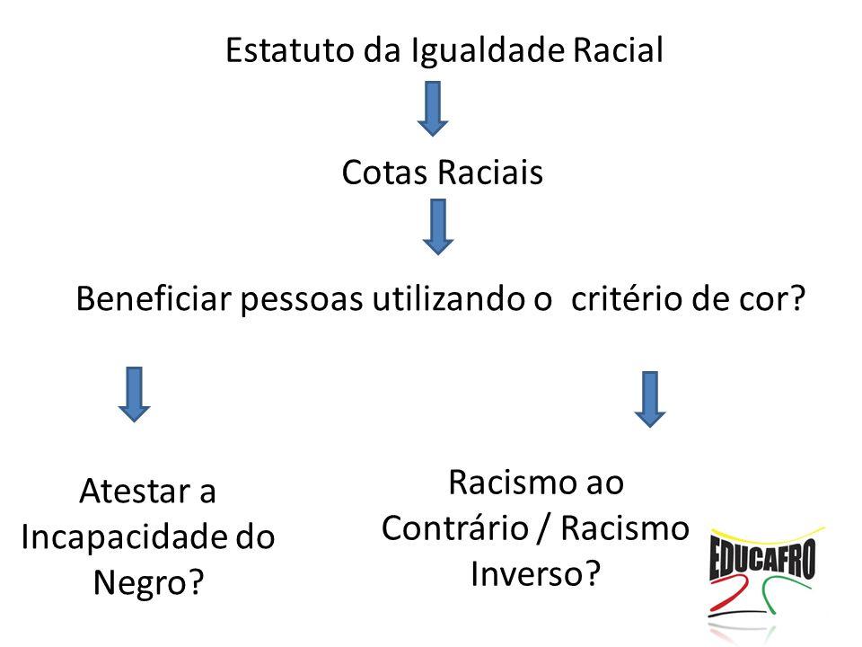 Estatuto da Igualdade Racial Cotas Raciais Beneficiar pessoas utilizando o critério de cor? Atestar a Incapacidade do Negro? Racismo ao Contrário / Ra