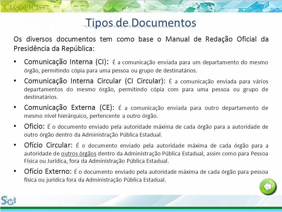 Tipos de Documentos Os diversos documentos tem como base o Manual de Redação Oficial da Presidência da República: Comunicação Interna (CI) : É a comun