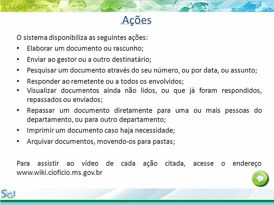 Ações O sistema disponibiliza as seguintes ações: Elaborar um documento ou rascunho; Enviar ao gestor ou a outro destinatário; Pesquisar um documento