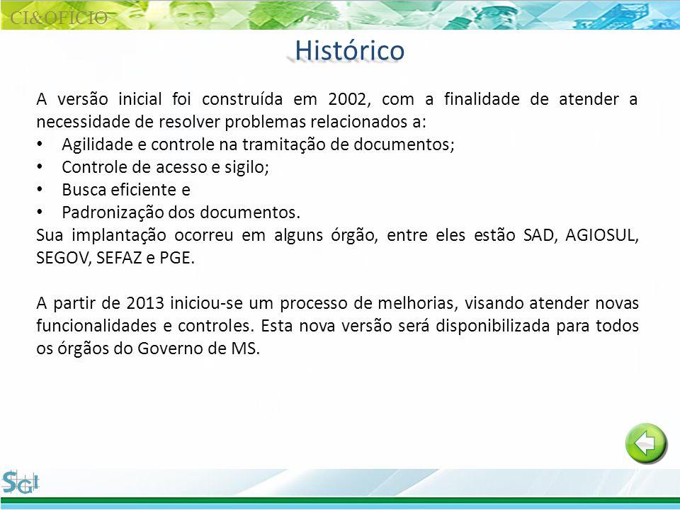 Histórico A versão inicial foi construída em 2002, com a finalidade de atender a necessidade de resolver problemas relacionados a: Agilidade e control