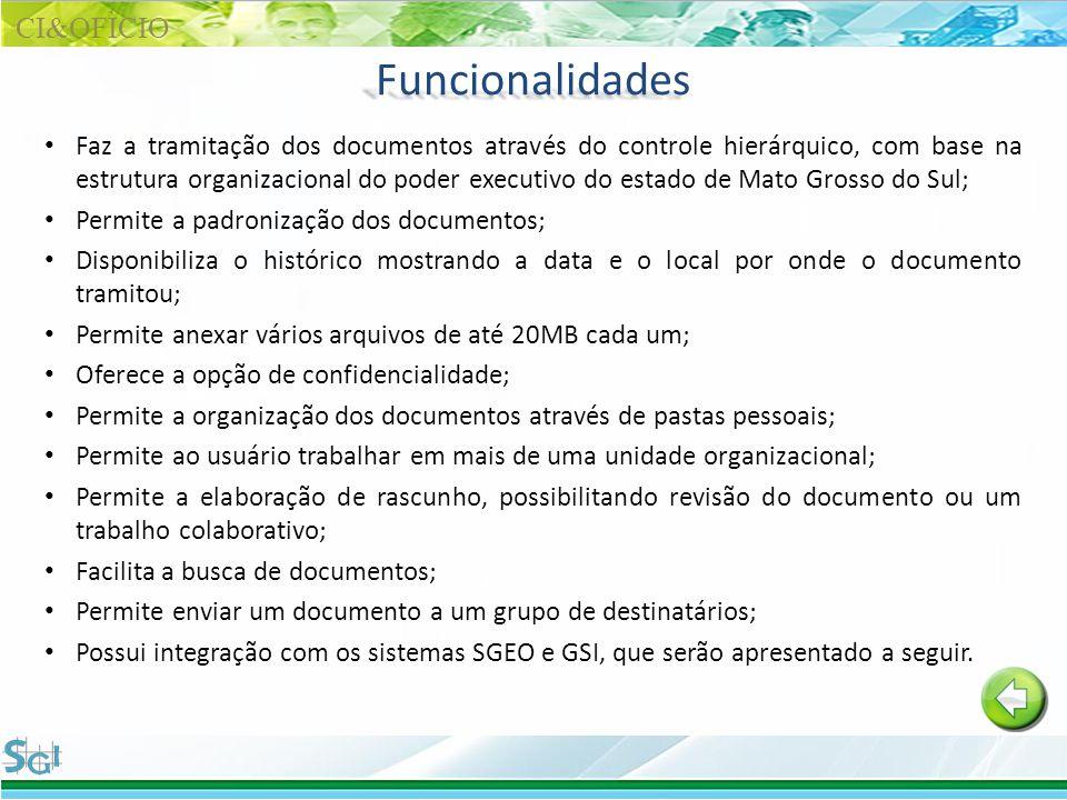 Funcionalidades Faz a tramitação dos documentos através do controle hierárquico, com base na estrutura organizacional do poder executivo do estado de