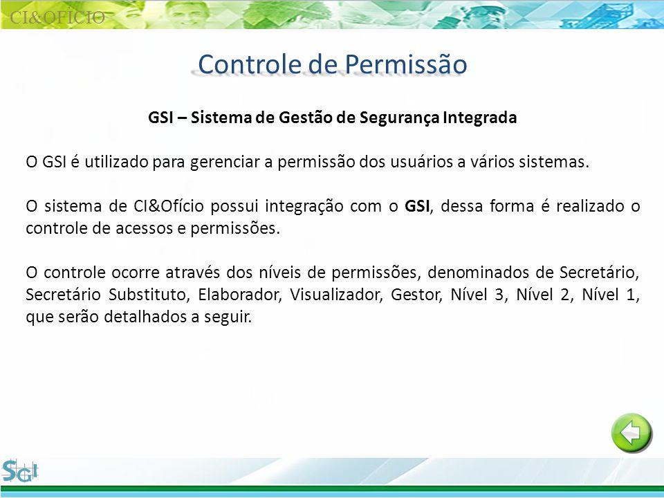 Controle de Permissão GSI – Sistema de Gestão de Segurança Integrada O GSI é utilizado para gerenciar a permissão dos usuários a vários sistemas. O si