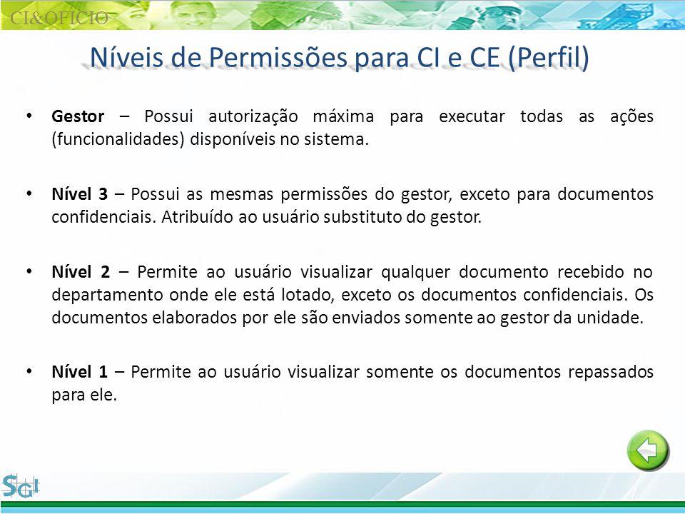 Níveis de Permissões para CI e CE (Perfil) Gestor – Possui autorização máxima para executar todas as ações (funcionalidades) disponíveis no sistema. N