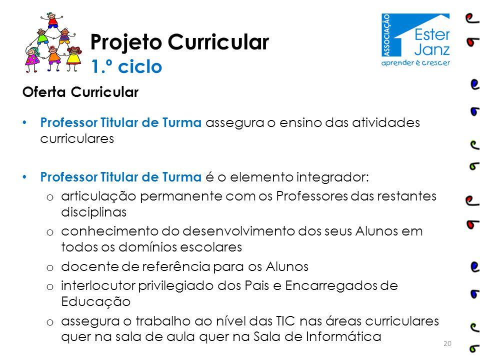 Oferta Curricular Professor Titular de Turma assegura o ensino das atividades curriculares Professor Titular de Turma é o elemento integrador: o artic