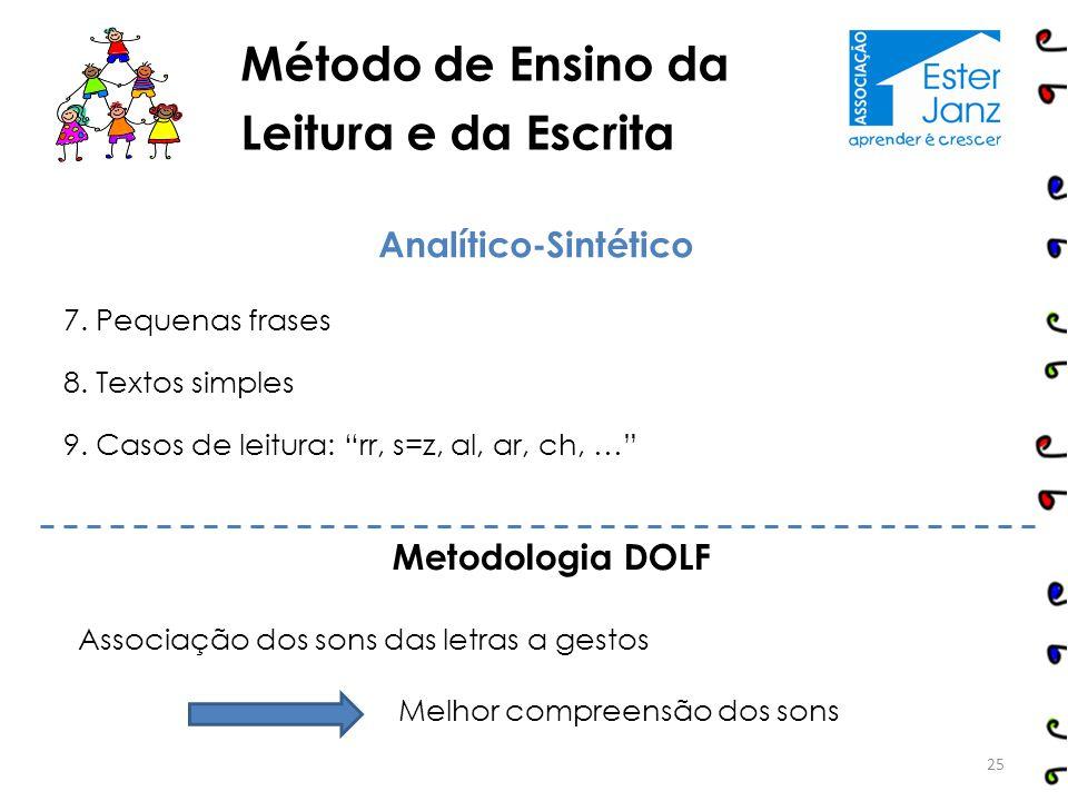 "Método de Ensino da Leitura e da Escrita 25 Analítico-Sintético 7. Pequenas frases 8. Textos simples 9. Casos de leitura: ""rr, s=z, al, ar, ch, …"" Met"